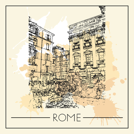 Sketch of Rome. Suitable for invitation, flyer, sticker, poster, banner, card, label, cover, web. Vector illustration. Standard-Bild - 127138639