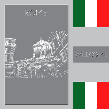 Sketch of Rome. Suitable for invitation, flyer, sticker, poster, banner, card, label, cover, web. Vector illustration. Standard-Bild - 127138640