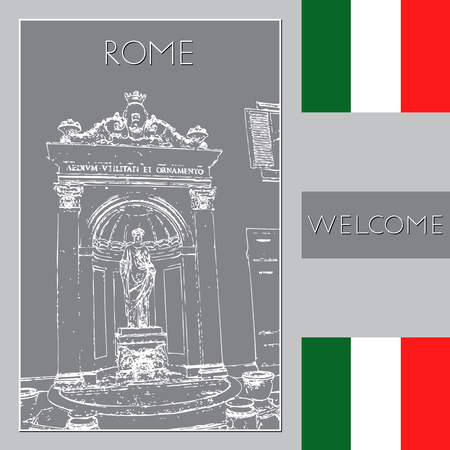 Sketch of Rome. Suitable for invitation, flyer, sticker, poster, banner, card, label, cover, web. Vector illustration.