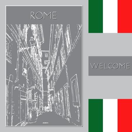 Sketch of Rome. Suitable for invitation, flyer, sticker, poster, banner, card, label, cover, web. Vector illustration. Standard-Bild - 127138642