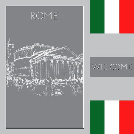 Sketch of Rome. Suitable for invitation, flyer, sticker, poster, banner, card, label, cover, web. Vector illustration. Standard-Bild - 127138643