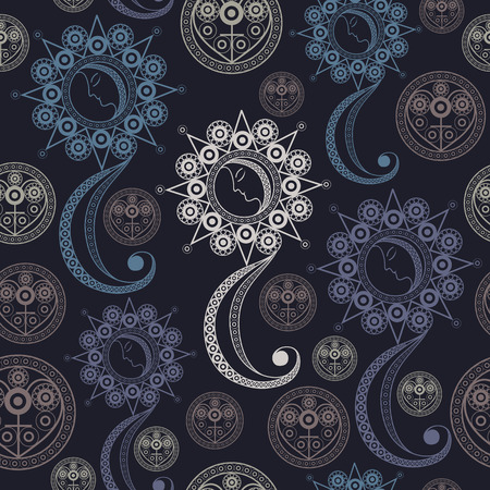 Seamless (texture) background with occult symbols. Suitable for textile, wallpapers, print, wrapping, scrapbooking, book cover, cloth design. Vector illustration.
