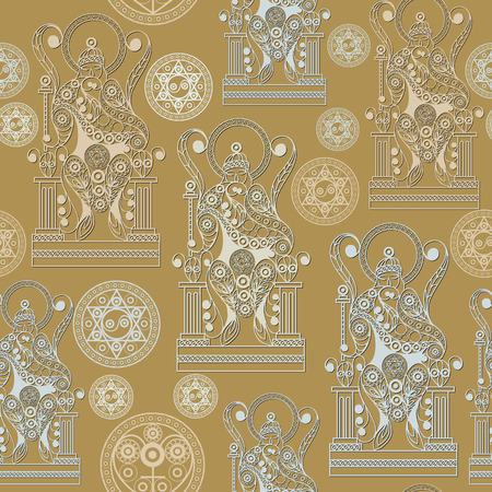 Seamless (texture) background with occult symbols. Suitable for textile, wallpapers, print, wrapping, scrapbooking, book cover, cloth design. Vector illustration. Иллюстрация