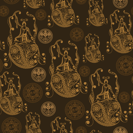 Seamless (texture) background with occult symbols. Suitable for textile, wallpapers, print, wrapping, scrapbooking, book cover, cloth design. Vector illustration. 矢量图像