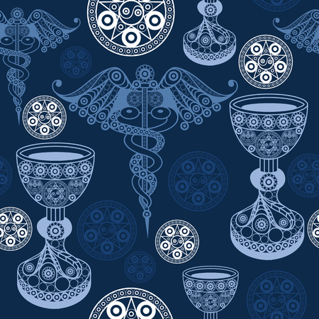Seamless (texture) background with occult symbols. Suitable for textile, wallpapers, print, wrapping, scrapbooking, book cover, cloth design. Vector illustration. Illustration