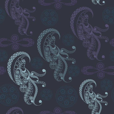 Seamless (texture) background with occult symbols. Suitable for textile, wallpapers, print, wrapping, scrapbooking, book cover, cloth design. Vector illustration. 向量圖像