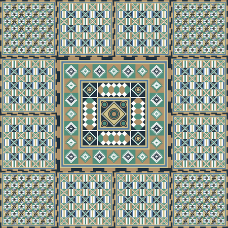 Geometrical abstract pattern from decorative ethnic ornament elements . African, Mexican, Turkmen texture (background) for packing, textile, interior, web design. Vetores