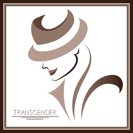 Graphic abstract with transgender (androgynous). Suitable for invitation, flyer, sticker, poster, banner, card, label, cover, web. Vector illustration. Ilustracja