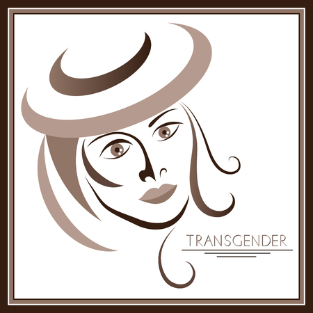 Graphic abstract with transgender (androgynous). Suitable for invitation, flyer, sticker, poster, banner, card, label, cover, web. Vector illustration. Illustration
