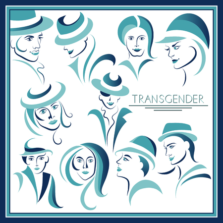 Graphic abstract with transgender (androgynous)-set. Suitable for invitation, flyer, sticker, poster, banner, card, label, cover, web. Vector illustration. Ilustracja