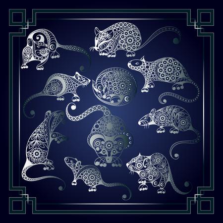 Illustrazione di ratti metallici, simbolo del 2020. Sagome di topi, decorate con motivi floreali. Elemento di vettore per il set di design di Capodanno. Vettoriali
