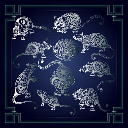 Illustration of metal rats, symbol of 2020. Silhouettes of mouses, decorated with floral pattern. Vector element for New Year's design-set. Illustration
