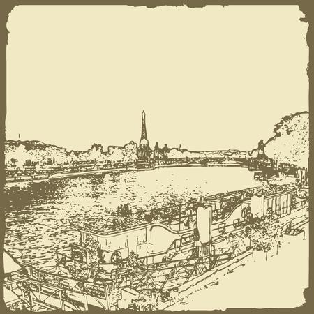 Eiffel tower. Illustrative editorial. Illusztráció