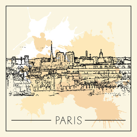 Sketch of Paris. Suitable for invitation, flyer, sticker, poster, banner, card, label, cover, web. Vector illustration.