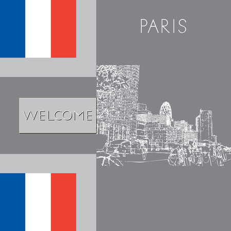Sketch of Paris. Suitable for invitation, flyer, sticker, poster, banner, card, label, cover, web. Vector illustration.