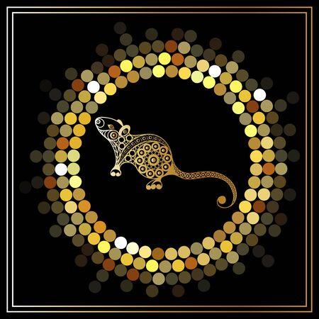 Illustration of metal rat, symbol of 2020. Silhouette of mouse, decorated with floral pattern. Vector element for New Year's design. Standard-Bild - 128199708