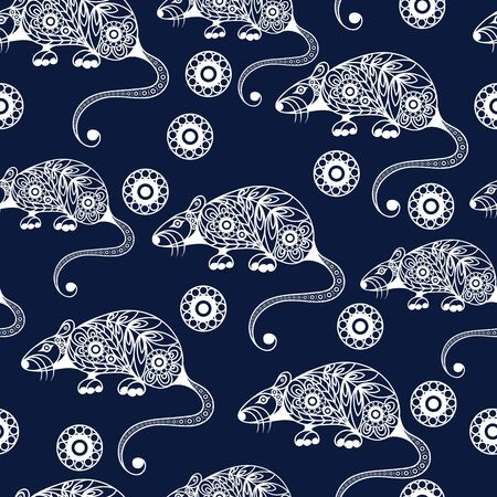 Seamless abstract background with metal rat,  symbol of 2020. Texture (pattern) for textile, wallpapers, print, wrapping, scrapbooking, book cover, cloth. New year design. Vector illustration. Standard-Bild - 128199736