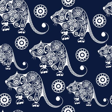 Seamless abstract background with metal rat,  symbol of 2020. Texture (pattern) for textile, wallpapers, print, wrapping, scrapbooking, book cover, cloth. New year design. Vector illustration. Standard-Bild - 128199746