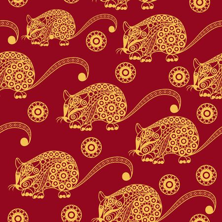 Seamless abstract background with metal rat,  symbol of 2020. Texture (pattern) for textile, wallpapers, print, wrapping, scrapbooking, book cover, cloth. New year design. Vector illustration. Standard-Bild - 128199747