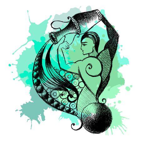 Decorative zodiac sign Aquarius. Horoscope and astrology (astronomy)-symbol. Vector illustration. Archivio Fotografico - 133427235
