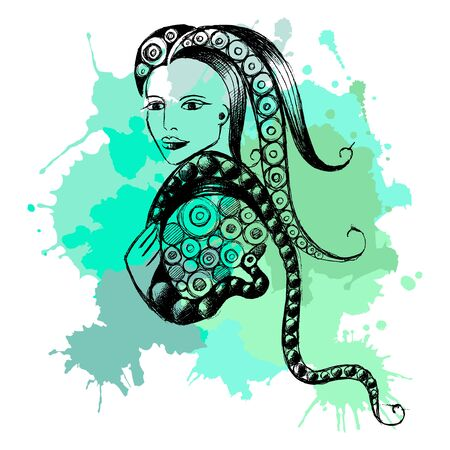 Decorative zodiac sign Ophiuchus. Horoscope and astrology (astronomy)-symbol. Vector illustration. Archivio Fotografico - 133427237
