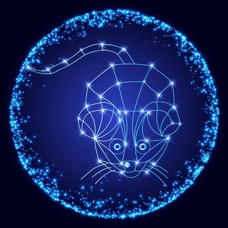 Illustration of metal rat, symbol of 2020. Silhouette of mouse in the shining round frame. Vector element for New Years design.