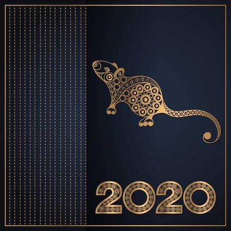 Illustration of metal rat, symbol of 2020. Silhouette of mouse, decorated with floral pattern. Vector element for New Years design.