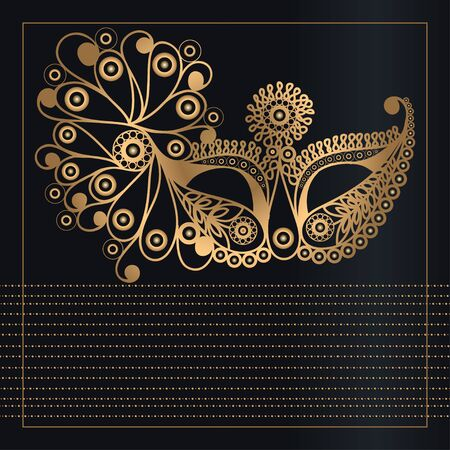 Graphic abstract decorative mask (symbol of the carnival in Venice). Suitable for invitation, flyer, sticker, poster, banner, card,label, cover, web. Vector illustration.  イラスト・ベクター素材