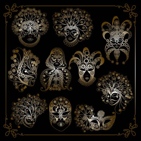Graphic abstract decorative masks (symbol of the carnival in Venice)-set. Suitable for invitation, flyer, sticker, poster, banner, card,label, cover, web. Vector illustration.  イラスト・ベクター素材