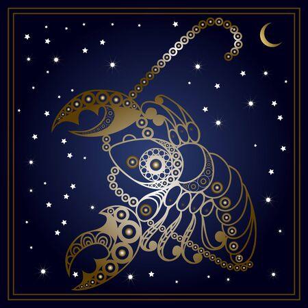 Decorative zodiac sign Cancer. Horoscope and astrology (astronomy)-symbol. Vector illustration. Illustration