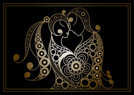 Stylized patterned profile of couple in love.  Valentine symbol. Suitable for invitation, flyer, sticker, poster, banner, card, label, cover, web. Vector illustration