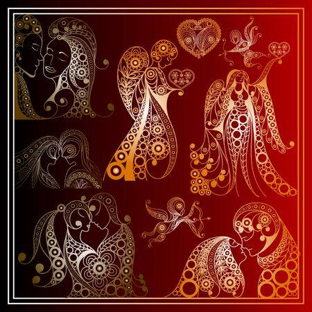 Stylized patterned set of symbols of Valentine.  Suitable for invitation, flyer, sticker, poster, banner, card, label, cover, web. Vector illustration