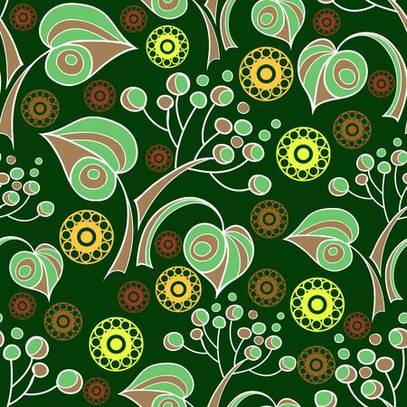 Seamless stylized abstract pattern (background) with linden  leaves silhouette.  Texture with branches.