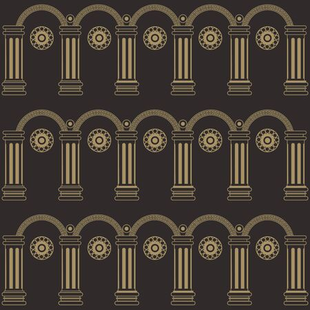 Seamless stylized abstract pattern (background) with colonnade.  Texture with column.