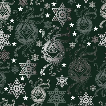 Seamless background with occult symbol. Masonic (freemasonic) texture (pattern). Suitable for textile, wallpapers, print, wrapping, scrapbooking, book cover, cloth design. Vector illustration.
