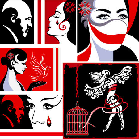 The dictatorship in Belarus. Abused young woman (lady, female, girl). Violence against women, rape concept. Suitable for invitation, flyer, sticker, poster, banner, card, label, cover, web. Vector illustration. 向量圖像