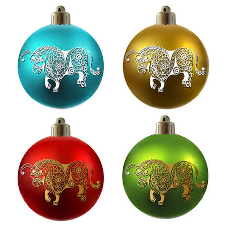 Colorful christmas balls. White metal ox-symbol of 2021. Chinese New Year. Vector illustration.