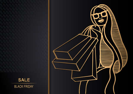 Abstract woman (buyer) on sale. Black Friday. Vector illustration. 矢量图像