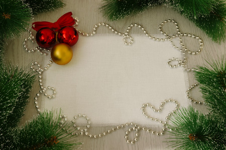 Christmas card with decoration on a wooden board with copy space  photo