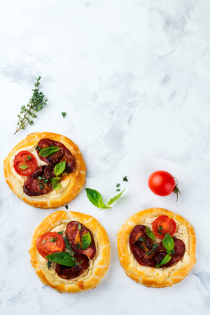Mini tarts with dried meat, tomatoes, ricotta, thyme, basil and olives on a light background. Selective focus.Top view Stock Photo