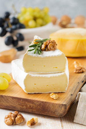 specific: Stack Camembert cheese with grapes, walnuts and basil on gray light concrete or stone background. Selective focus. Stock Photo