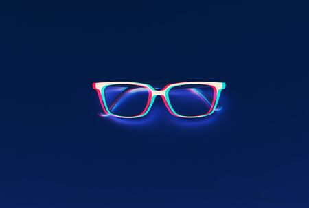 Fashionable glasses on deep blue background. 3D effect. Glitch style effect. Vibrant duo tone yellow, violet colors. Stock Photo