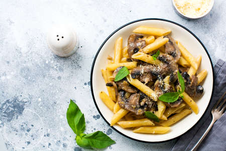 Penne rigate pasta with mushrooms, parmesan cheese and basil leaves in ceramic dish on light old concrete background. Selective focus Foto de archivo