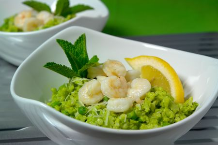minted: Risotto with shrimps and minted peas