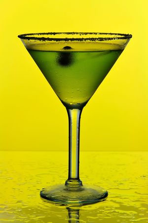martini on yellow background photo
