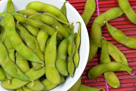 soysauce: soybeans in a bowl Stock Photo