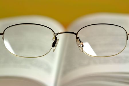 positioned: Glasses positioned as if looking thru them