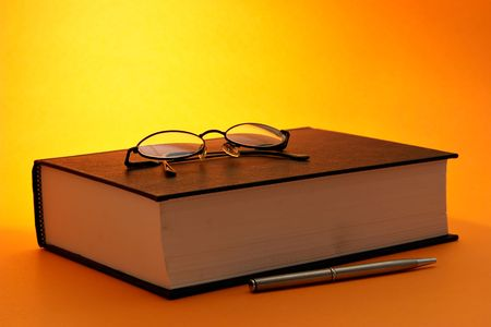 Book with pen and glasses Stock Photo - 470950