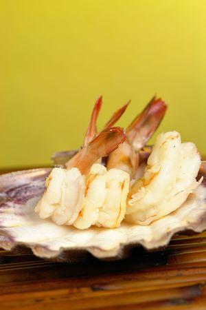 jumbo shrimp: Jumbo Shrimp Cocktail in seashell Stock Photo