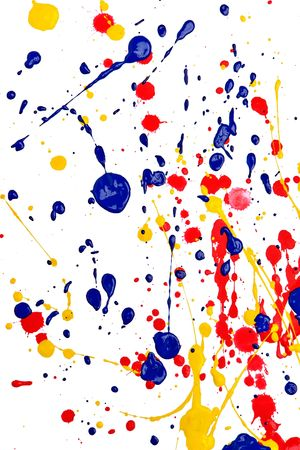 Primary colors splashed on white background Stock Photo